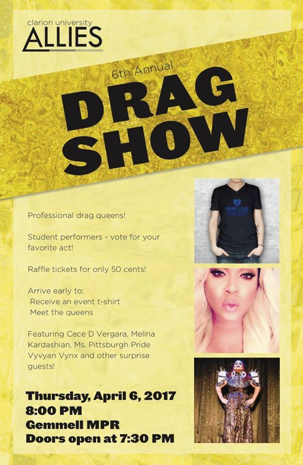 Clarion: Sixth Annual Drag Show @ Clarion University | Clarion | Pennsylvania | United States